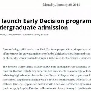 波士顿学院申请政策新变化:取消EA改为ED