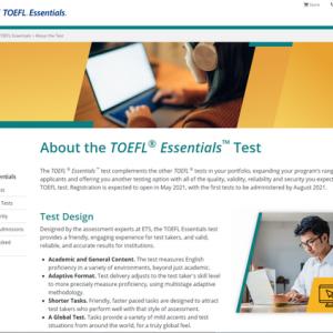 ETS将推出全新托福考试TOEFL Essentials