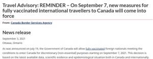 加拿大政府�l文:9月7日加拿大正式向全球旅客�_放�境!